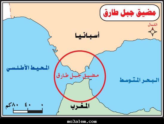 خريطة مضيق جبل طارق جغرافيا رابع ابتدائي